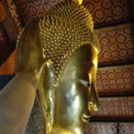 Tête du bouddha couché, Wat Pho, Bangkok, Thaïlande