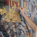 Restauration de peinture murale, Wat Pho, Bangkok, Thaïlande